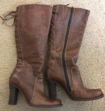 KENNETH COLE REACTION BROWN LEATHER LONG BOOTS - SIZE 6 LACE UP BACK