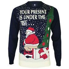 Mens Novelty Christmas Funny Santa Presents Crew Neck Thin Xmas Top Jumper New