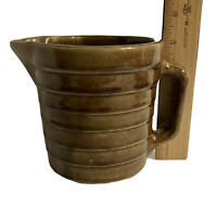 "Vintage USA Pottery Light Brown Stoneware Pitcher Ribbed Glazed 5"" Tall"