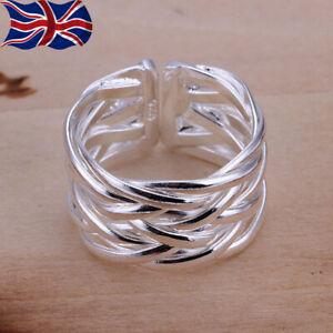 925 Sterling Silver Adjustable Ring Band Weave Thumb Finger Rings UK Seller