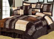 Exotic Animal Instinct Leopard Brown Faux Fur Patchwork 7 pc Queen Comforter Set