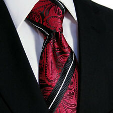 NEW Italian Mens Wedding Black Red White Gift Pasiley Floral Silk Necktie Woven