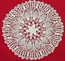 """White 9"""" Round Leaf Pattern Crochet Doilie"""