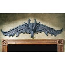"35"" Gothic medieval Winged Dragon Head Over Door Sculpted Wall Decor"