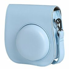 Instax Mini 8 Camera Leather Case Shoulder Bag Cover For Fujifilm Fuji in Blue
