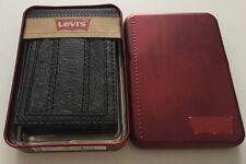 NEW Levis Men's Leather/Felt Black-Gray Bi FOLD Logo Street WALLET Retail $38