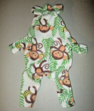 XS Dog Pajama  [Monkey] fleece handmade