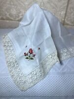 """Vintage Handkerchief Hankie Embroidered Sweet Flowers 1 1/2"""" Lace Edges Free Shi"""
