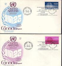CANADA - UN 25TH - 513-4 U/A 2 FDCs - KINGSWOOD CACHET - 1970