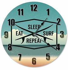 "EAT SLEEP SURF Repeat Clock - Large 10.5"" Wall Clock - 2190"