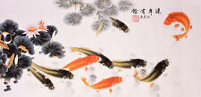 100% ORIGINAL ASIAN ART CHINESE ANIMAL WATERCOLOR PAINTING-Fishes&Lotus flowers