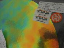 """Dichroic Glass:CBS 90 COE Aurora Borealis Cyan/Dk. Red on Thin Clear- 3""""Sq"""