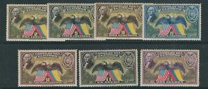 ECUADOR 1938 150th ANNIVERSARY of the US CONSTITUTION (Sc C57-C63) VF MLH