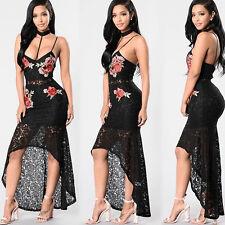Abito aperto Nudo Pizzo Scollo Ricamato Cerimonia Party Lace Embroidery Dress M