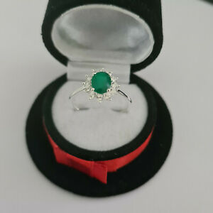 Beautiful Verde Onyx halo ring in Sterling Silver