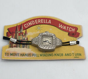 Vintage Japan Disney Cinderella Tin Watch On Original Novelty Card