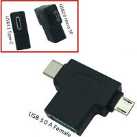 Micro USB Type-C Male To USB 3.0 A Female OTG Converter Adapter Hub For Android
