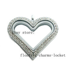 Steel Floating Memory Glass Locket One Crystal Large Heart Copy Stainless