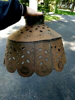"""Vintage Metal/Copper Pendant Hanging Shade Punched Tin Light Fixture Large 20"""""""