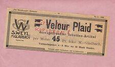 M.GLADBACH, Werbung 1905, S. Weyl Velour Plaid durchgedruckter Schotten-Artikel