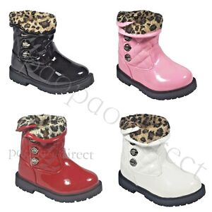 Girls Infant Patent  Ankle Trim VELCROoo School boots Sizes