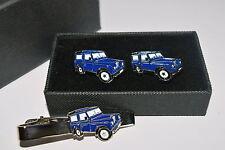 Blue Land Rover 4x4 Gemelli & Fermacravatta Set REGALO INSCATOLATO SMALTO Abito di Nozze/Tie