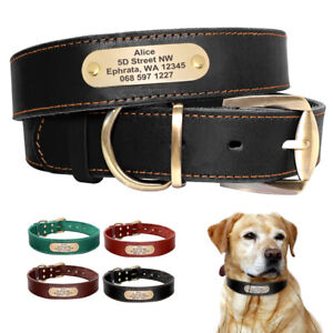 Personalized Real Leather Dog Collar Custom Name ID Adjustable for Large Dogs