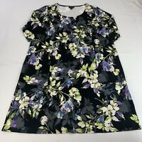 J. Jill Wearever Collection Plus Size 1X Dress Black Floral Print Stretch Career