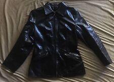Vtg SAM WALKER Outdoor Togs Utility Zip Up BLACK Leather Moto Jacket UK Made M