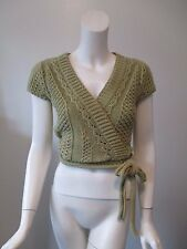 Anthropologie MOTH Light Sage Green Tie Waist Wrap Knit Sweater Top fits S