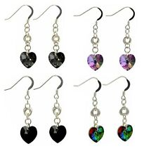 Love and Friendship Knot Crystal Heart Earrings Sterling Silver Ear Wires