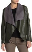 Tahari Faux Leather Moto Jacket Size Large Forest Night NWT MSRP 118 Deep Green