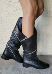 MAUD FRIZON Paris Black Butter Soft Leather Zipper boots SIZE 37 US SIZE 6 6.5