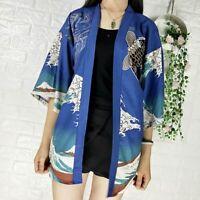 Men Lady Japanese Kimono Cardigans Jacket Yukata Ukiyoe Coat Chinese Carp Casual
