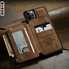 For iPhone 12 Pro Max Case Leather Zipper Wallet Card Holder Magnet Flip Cover