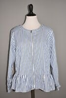 DENIM & CO. NEW $58 Yarn Dyed Striped Peplum Jacket in Seaport Blue Large