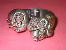 Rare TORTOLANI Vintage Astrological Hinged Bracelet ~ GEMINI ~ Silverplate