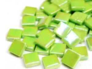 Green Iridised Glass Mosaic Tiles 12mm - Art Craft Supplies
