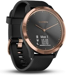 Garmin vivomove HR Hybrid Smart Watch (Small/Medium) Rose-Gold with Black Band