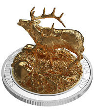 2017 Canada Sculpture of Majestic Animals - Elk 10 oz Silver Gilt Proof SKU46966