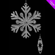 4 x Silver Snow Flake Christmas Tree Decorations Glitter Shatterproof Plastic