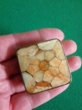 ANTIQUE VINTAGE BRASS / TOP MOTHER OF PEARL PILL/SNUFF TRINKET BOX
