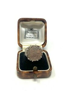Antique Art Deco C1915 Sterling Silver 925 Threepence Coin Ring Size Q 6g #1174