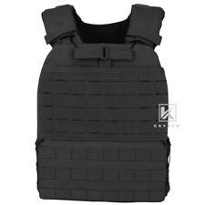 Tactical CrossFit Weighted Vest Plate Carrier MOLLE Endurance Fitness BLACK