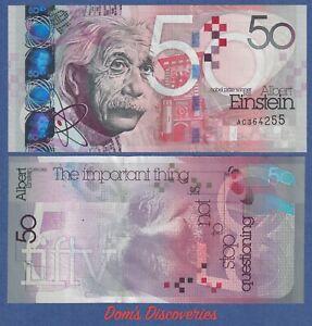 De La Rue Test Note  -Einstein 50 Intaglio Specimen (2021) NOBEL Prize  UNC