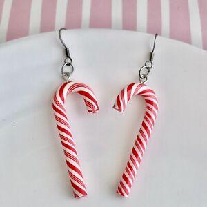 Cute Christmas Candy Cane Fun Dangle Earrings / Quirky / Festival / Retro