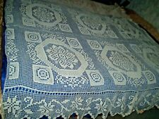 ANTIQUES  BEAUTIFUL HANDMADE CROCHETED lace TABLECLOTH  BEDSPREAD + pillow