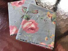 2 Rare Ralph Lauren Garden Rambler Blue w Roses Floral Standard Pillowcases