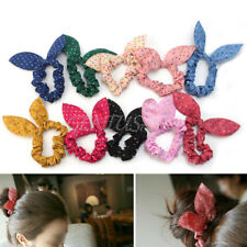 10pcs Cute Women Girls Rabbit Ear Hair Bow Tie Bands Ponytail Holder Mix Color