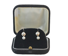 Victorian Heart shape Double Pearl Pierced Dangle Earrings 14k Yellow Gold